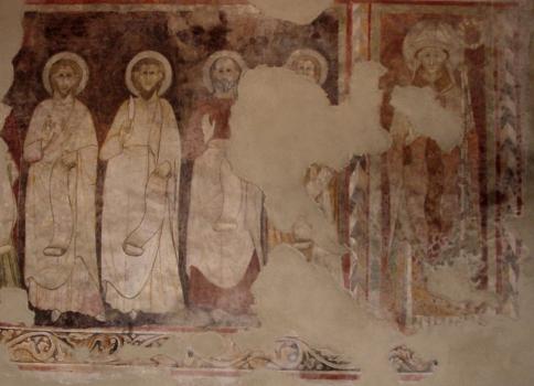 """Chiesa di Corenno Plinio: affresco """"il Vescovo e i 5 apostoli"""""""