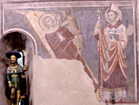 Chiesa di Corenno Plinio: Affresco Santa Apollonia e San Gottardo