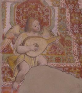 Chiesa di Corenno Plinio: madonna in trono - dettaglio angelo