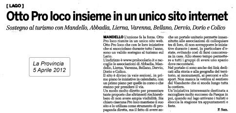 Articolo Giornale La Provincia - 5 Aprile 2012