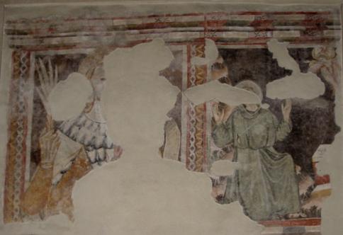 chiesa di Corenno Plinio: Affresco san cristoforo e san francesco