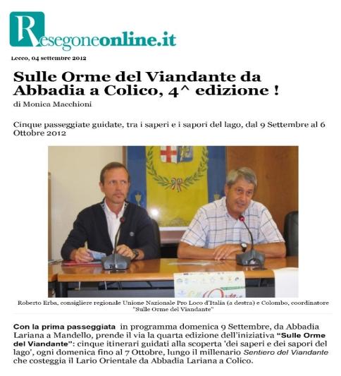 """Resegoneonline.it - Articolo sulla Manifestazione """"Sulle Orme del Viandante"""""""
