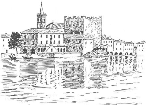 Fig. E - Il borgo di Mandello nel tardo Medio Evo