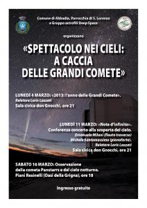"""Locandina Manifestazione """"Grandi comete"""""""