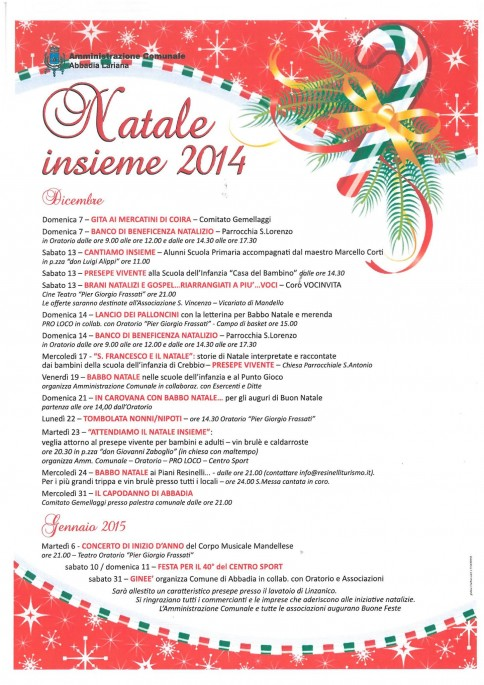 Abbadia: eventi Natale 2014